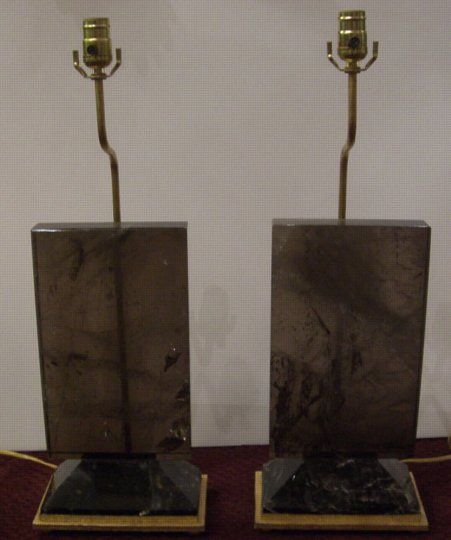 Pair deco style tea color rock crystal lamps on gilt metal bases