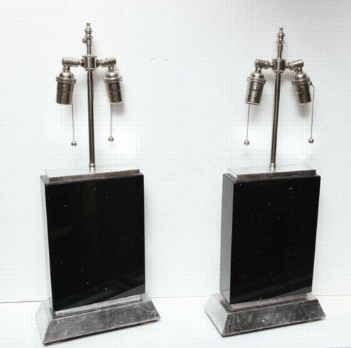 Pair of obsidian lamps on sliver gilt wood bases
