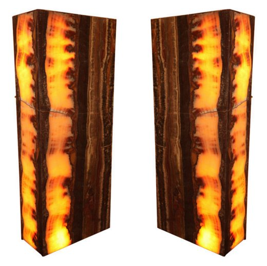 Pair of large and decorative onyx floor pedestal/ lamps