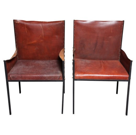 Pair of Jean- Michel Frank Style armchairs