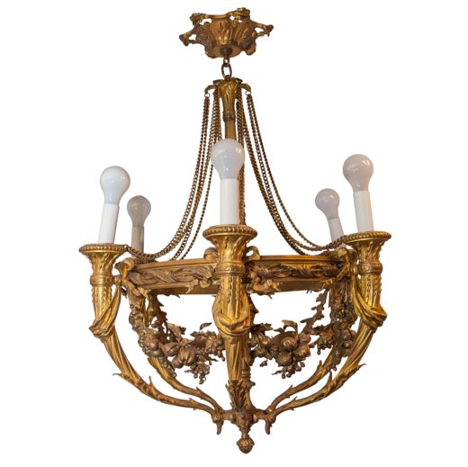 Early 20th C. 6 Light Chandelier with fruits