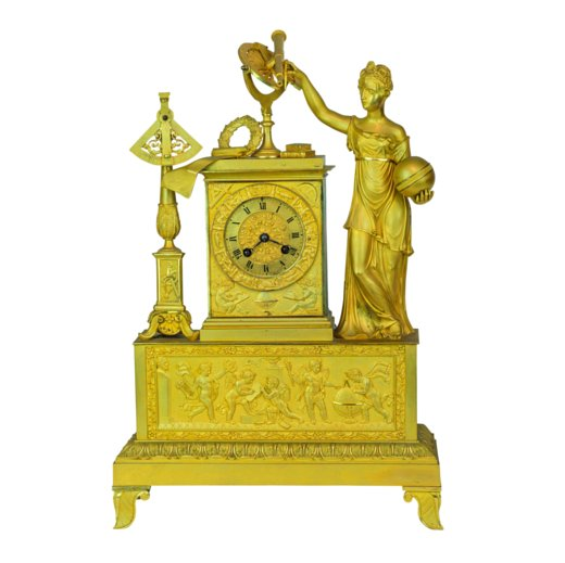 Fine French Empire gilt bronze figural clock
