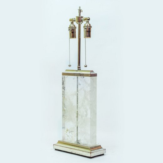 An Art Deco style rock crystal table lamp on giltwood base