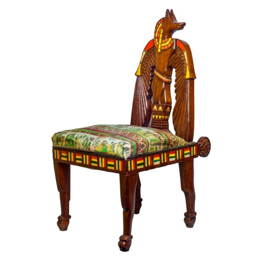 Unusual Egyptian revival inlaid figural side chair.