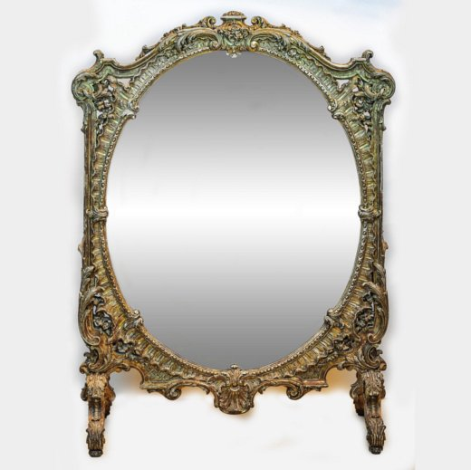 Fine Carved Two Sided Mirrored Fire Screen with Gilt Highlight
