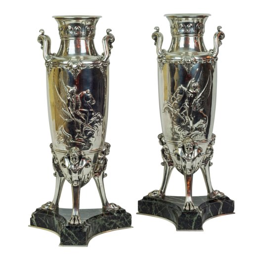 A Fine Pair of Neoclassical Silvered Bronze Vases