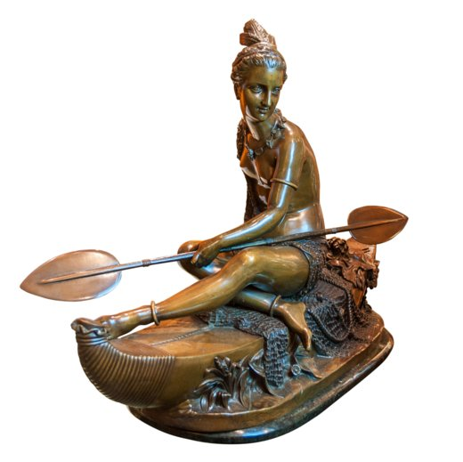 A Large Bronze Sculpture of a Beautiful Native American Indian Maiden sitting in a Canoe