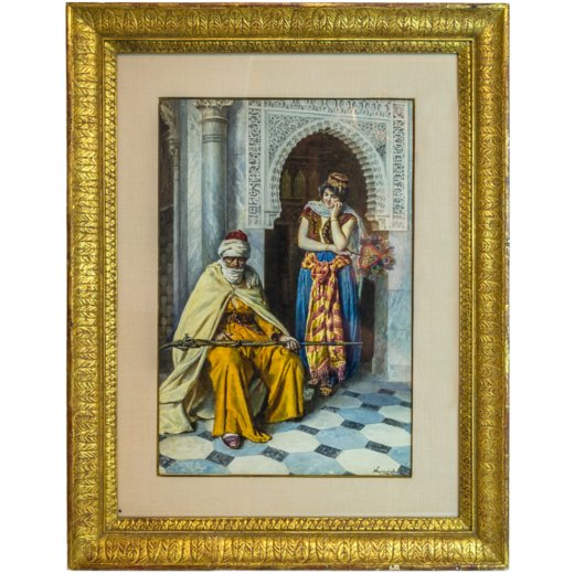 Fine Orientalist Water Color with Standing Gypsy and Seated Warrior