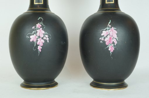 Pair of Neoclassical Porcelain Vases with Painted Portrait and Floral Decoration