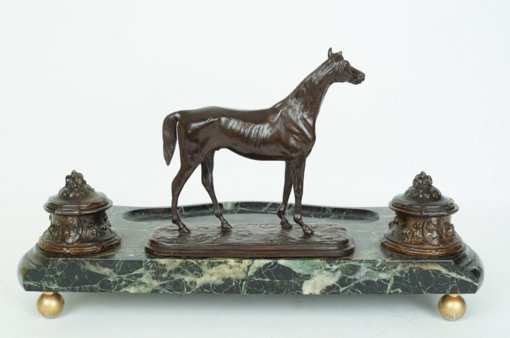Bronze and Marble Figural Desk Inkwell with a Standing Horse