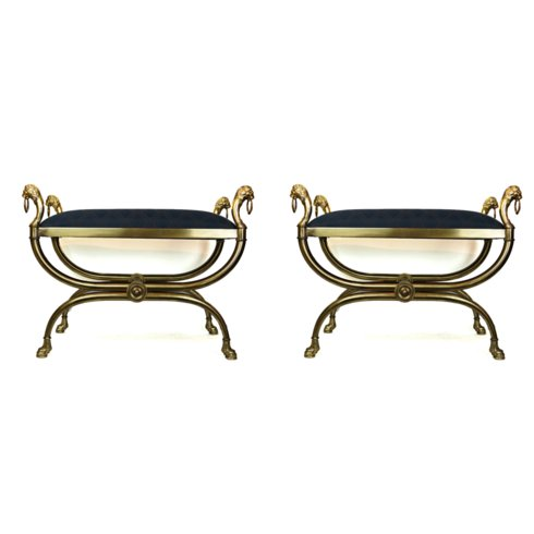 Pair of Regency Style Brass Ottoman Benches