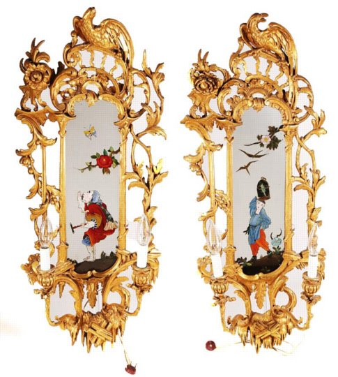 Pair of English George II Giltwood Chinoiserie Painted Wall Light Sconce Mirrors