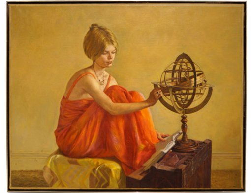 Oil on Canvas Painting of Seated Lady Studying The Globe