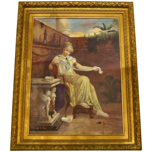 Pompeian Neoclassical Painted Porcelain Plaque of a Seated Maiden in Garden