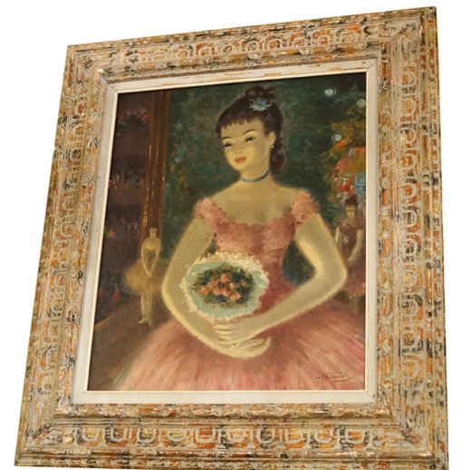 Oil on Canvas Painting of a Ballerina Holding Flowers Signed