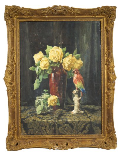 Oil on Canvas Painting of a Flower Vase on Table with Parrot
