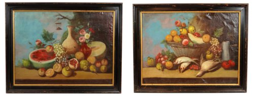 Pair of Still Life Oil on Canvas Paintings of Fruits
