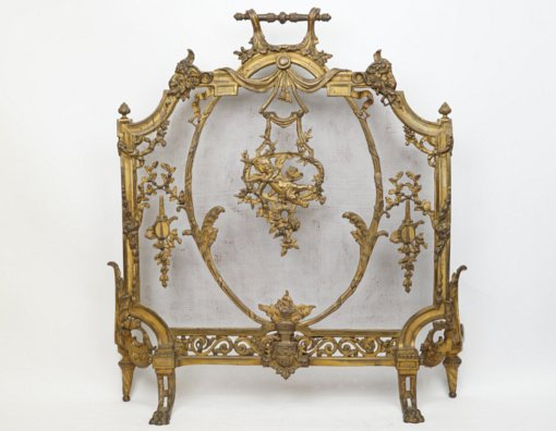 Fine French Gilt Bronze Fireplace Screen