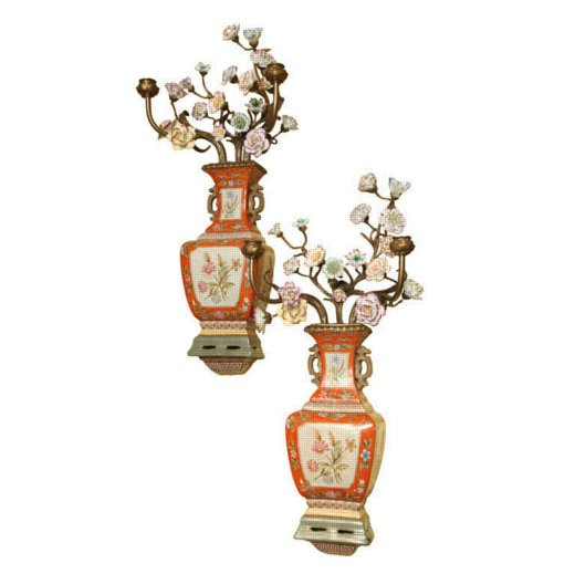 Pair of Chinoiserie Porcelain and Bronze Wall Light Sconces