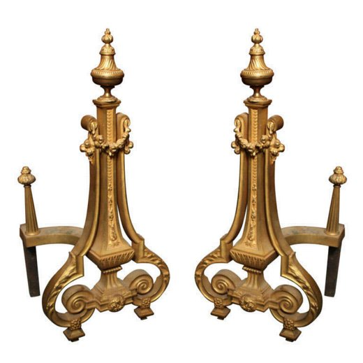 Pair of Louis XVI Style Bronze Dore Chenets