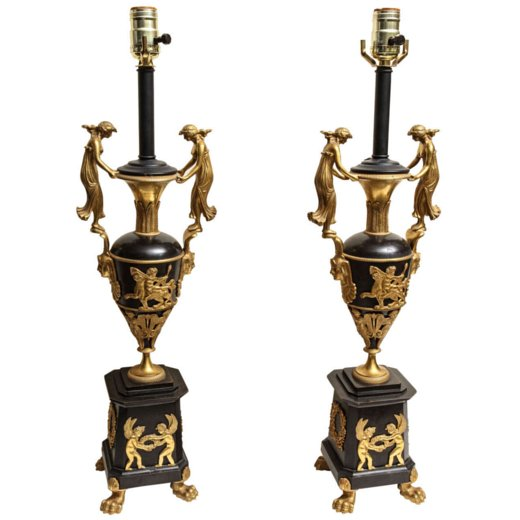 Pair of Neoclassical Russian Empire Style Figural Lamps