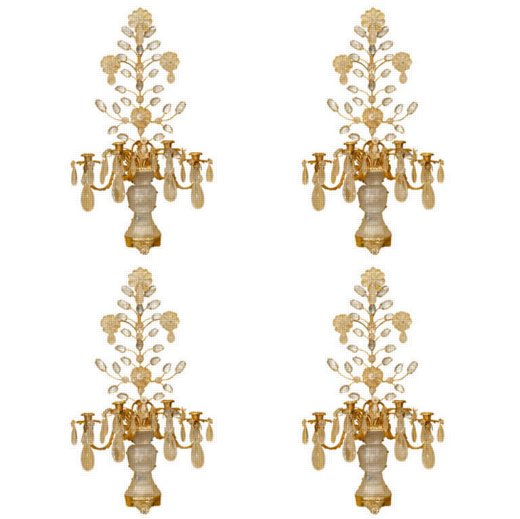 Set of Four Gilt Metal and Rock Crystal Four-Light Sconces