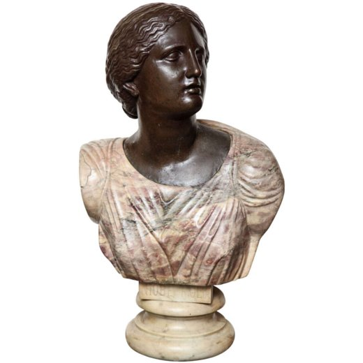 A Very Fine Quality Itlian Neoclassical Marble and Bronze Bust of a Woman