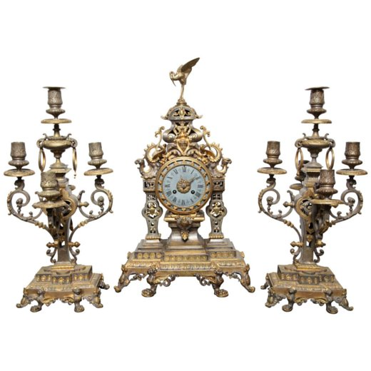 French 19th Century Bronze, Three Piece Chinoiserie Style Clock Set