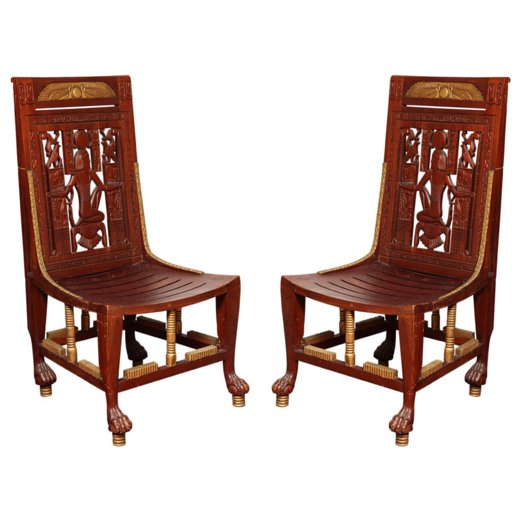 Pair of Egyptian Revival Chairs
