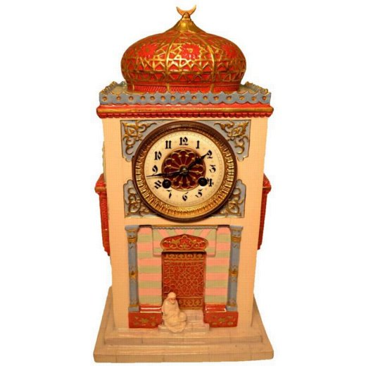 Unusual Orientalist Porcelain Desk or Mantel Clock of a Musk
