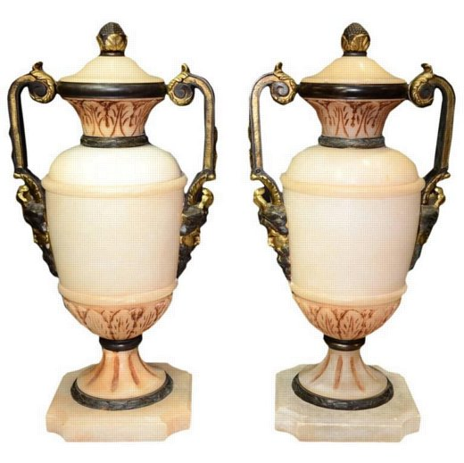 Neoclassical Pair of Carved Alabaster and Bronze Urns with Mask Face Handles