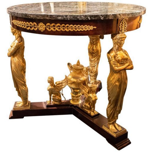 French 19 Century Empire Style Figural Bronze and Wood Marble-Top Center Table