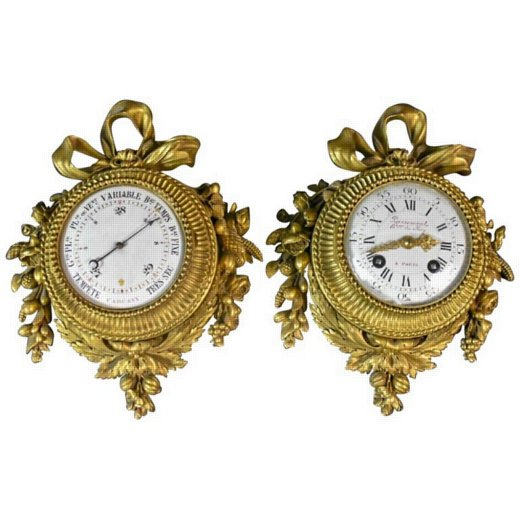 Pair of Louis XVI Style Gilt Bronze Wall Clocks and Barometer