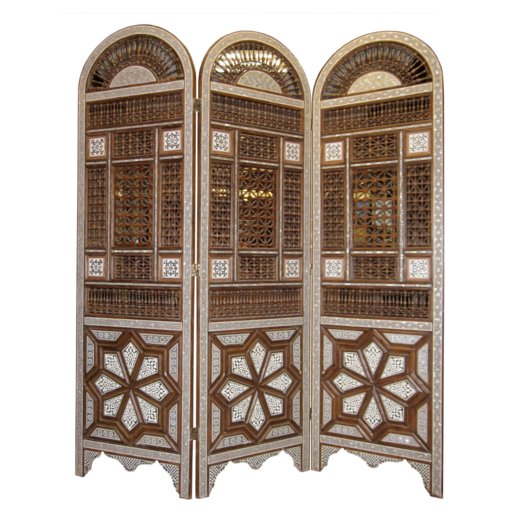 Middle Eastern 3-Panel Wooden Screen with Extensive Inlay of Mother of Pearl and Bone