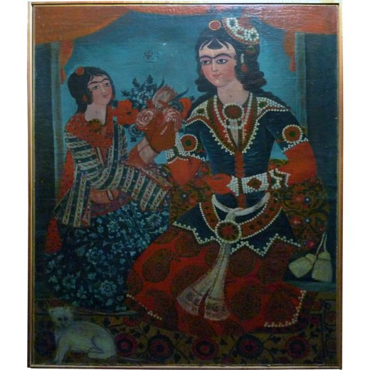 STRIKING QAJAR OIL PAINTING OF LADY AND HER MAID