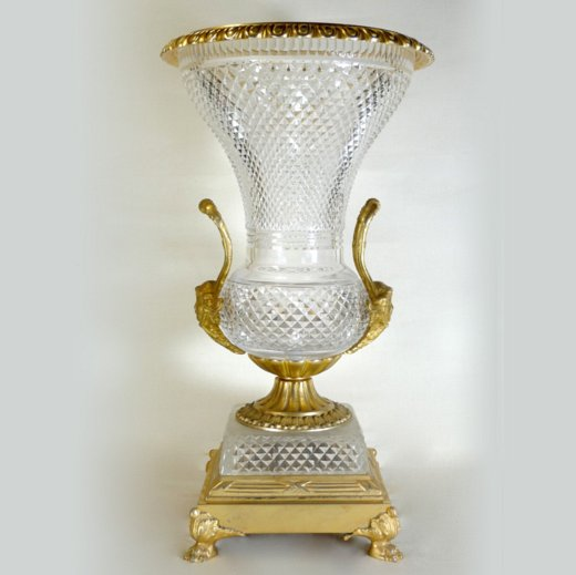 Fine Quality Large Bronze And Crystal Vase Attributed To Baccarat
