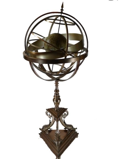 GILT BRONZE ORIARY WITH PAINTED CELESTIAL GLOBE MOUNTED ON TRIPOD BASE