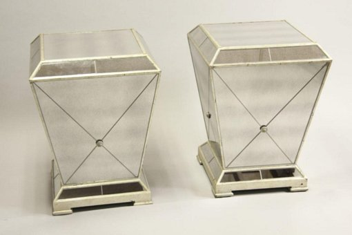 Pair of Mid-Century Modern Mirrored and Silver Gilt Stands / Pedestals